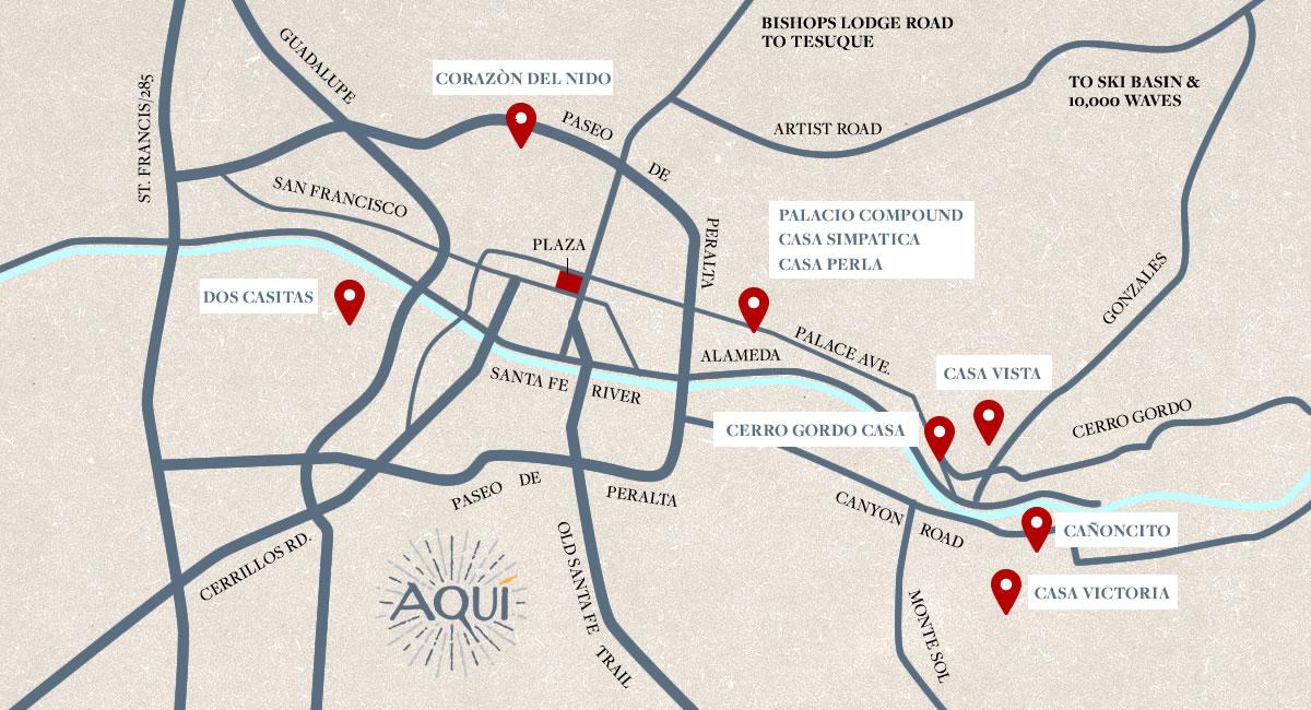 santa-fe-vacation-rental-map - Aqui Santa Fe Vacation Rentals