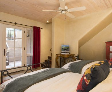 Santa Fe Vacation Rental Master Bedroom with French Doors