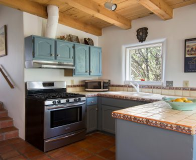 Santa Fe Vacation Rental with Stone Floor