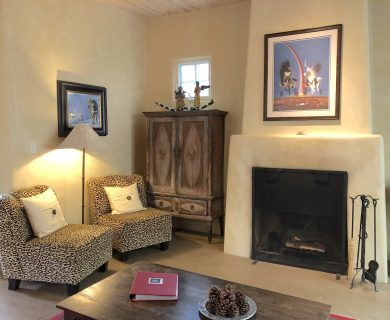 Rustic Fireplace in Santa Fe Vacation Rental
