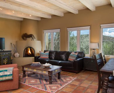 Rustic Living Room Flooring in Santa Fe Vacation Rental