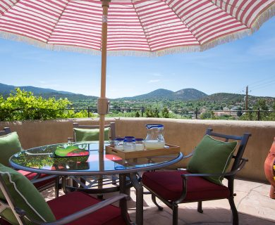 Santa Fe Vacation Rental with Chiminea on Balcony