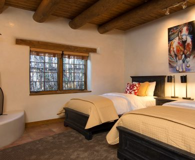 Guest Bedroom with Two Beds and Fireplace