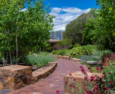Santa Fe Vacation Rental with Garden and Brick Pathway